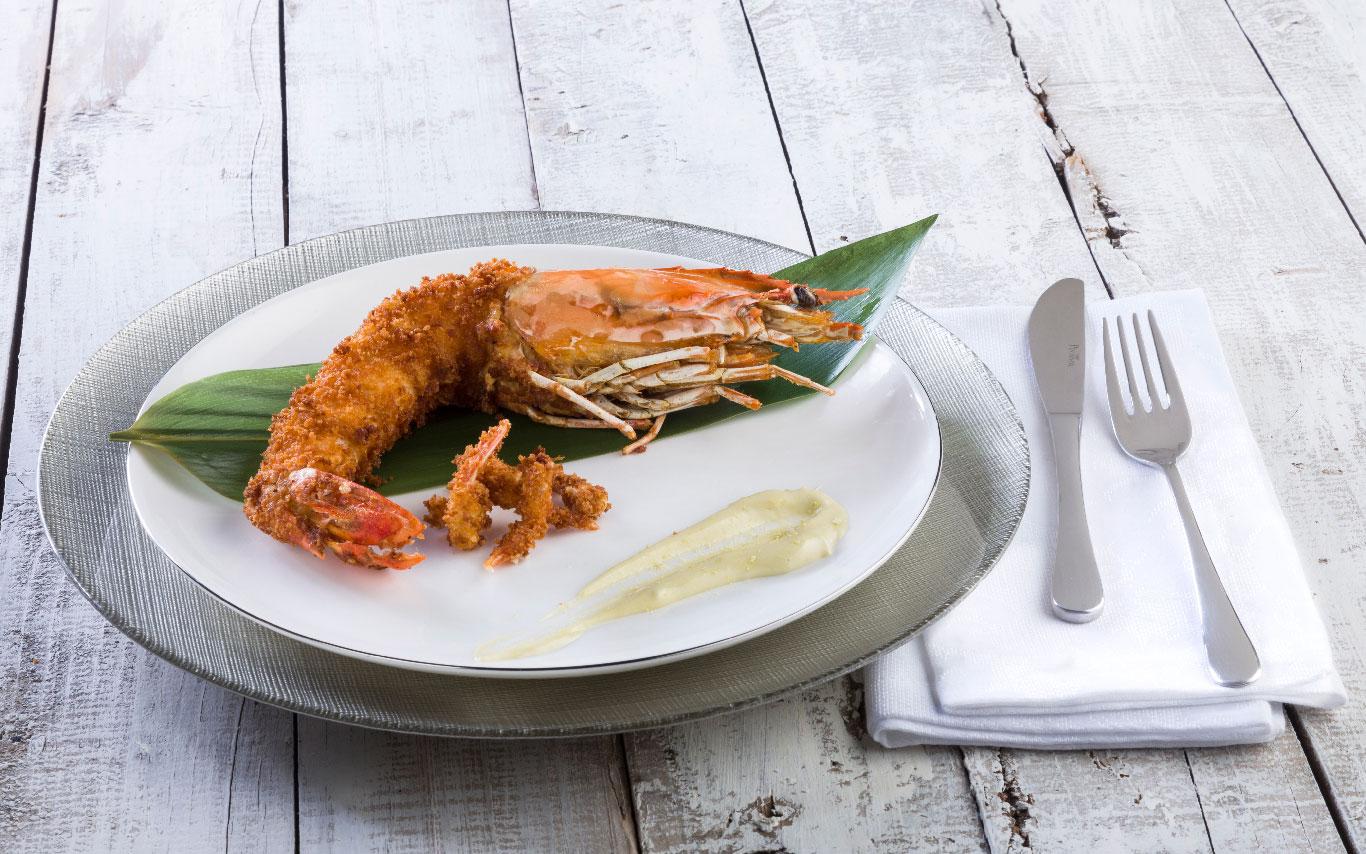 langostino jumbo con panko y mahonesa al wasabi